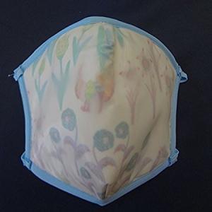 ピッタリッチ PM2.5フィルターマスク 花柄(白地にブルー...