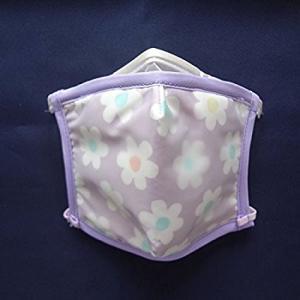 ピッタリッチ PM2.5+防菌・防ウィルスフィルターマスク 可愛い花柄紫 再利用可能|nippon-clever