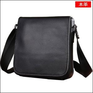 本革 ショルダーバッグ メンズ レザー メッセンジャーバッグ 鞄 ブラック 黒色 アウトドア 便利