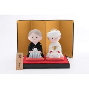 日本お祝い 結婚 婚姻 新郎 新婦 にんぎょう 福岡 博多 伝統工芸品 [博多人形いとう] 愛 [花嫁 花婿]|nipponmarche