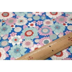 【ティルダ ファブリック/Tilda】Tilda W110 Boogie Flower 100011-Blue|nippori-pakira
