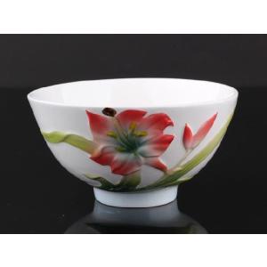 萱草白釉 レリーフ 茶碗 310ml  ご飯 ボウル ライス スープ サラダ 軽い 陶磁器 白磁 おしゃれ|nishida-store