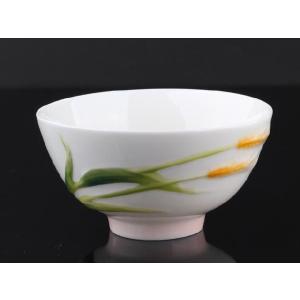 麦の穂白釉 レリーフ 茶碗 310ml  ご飯 ライス サラダ スープ ボウル 軽い シンプル おしゃれ 白磁 ギフト|nishida-store
