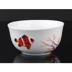 海底世界白釉 レリーフ 茶碗 310ml  ご飯 ライス スープ サラダ ボウル 陶磁器 軽い 白磁 おしゃれ ギフト プレゼント|nishida-store