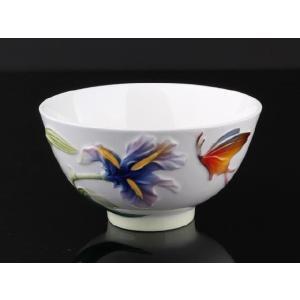 百合白釉 レリーフ 茶碗 310ml  ご飯 ライス スープ サラダ ボウル 陶磁器 軽い 白磁 おしゃれ ギフト プレゼント|nishida-store