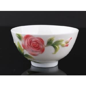 バラ白釉レリーフ 茶碗 310ml  ご飯 ライス スープ サラダ ボウル 陶磁器 軽い 白磁 おしゃれ ギフト プレゼント|nishida-store