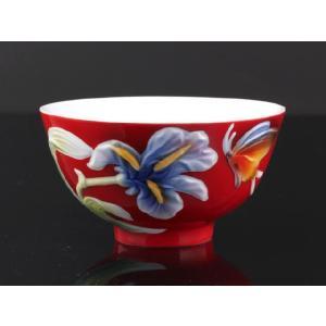 蝶舞紅釉 レリーフ 茶碗 310ml  ご飯 ライス スープ サラダ ボウル 陶磁器 軽い 紅磁 おしゃれ ギフト プレゼント|nishida-store