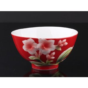 インドソケイ紅釉 レリーフ 茶碗 310ml  ご飯 ライス スープ サラダ ボウル 陶磁器 軽い 紅磁 おしゃれ ギフト プレゼント|nishida-store