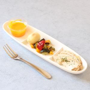 仕切り皿 白磁 おしゃれ  楕円型三つ仕切り  オードブル プレート 前菜 軽い シンプル 無地 カフェ|nishida-store