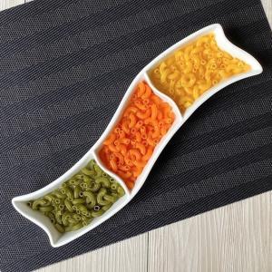 仕切り皿 オードブル皿  35cm 3つ仕切り  長皿 白磁 おしゃれ レンジOK 無地 シンプル 軽い カフェ|nishida-store
