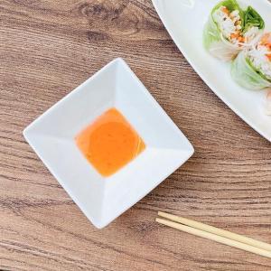 小皿 白磁 おしゃれ  8.9cm  スクエア 醤油皿 豆皿 無地 シンプル レンジOK 軽い|nishida-store