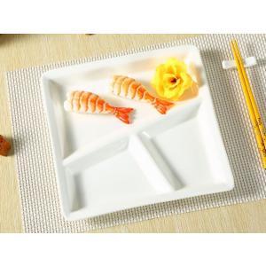 ランチプレート 三つ仕切りス正方形  洋食器 アウトレット 訳あり 丈夫 レンジOK 食洗機対応|nishida-store