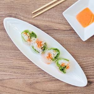 長皿 楕円皿 白磁 おしゃれ  10号 笹の葉紋  オードブル皿  カフェ レンジOK 軽い 小さい シンプル|nishida-store