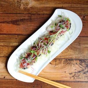 オードブル皿 さんま皿 14.5号 36.5cm 白磁 おしゃれ レンジOK シンプル ホワイト|nishida-store