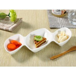仕切り皿 オードブル皿  3連ボウル  白磁 無地 シンプル おしゃれ 軽い カフェ 大きい 長皿|nishida-store