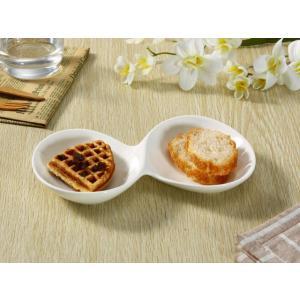 仕切り皿 オードブル皿  23.6cm 2連プレート  丸い 取り皿 白磁 おしゃれ レンジOK 軽い|nishida-store