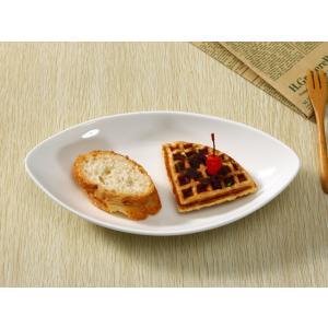 楕円皿 10号オリーブ型  オーバル プレート 取り皿 白い 無地 シンプル おしゃれ 強化磁器 業務用 軽い|nishida-store