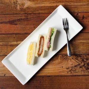 長皿 オードブル皿  14号  さんま皿 プレート レクタングル 白磁 おしゃれ レンジOK 軽い シンプル|nishida-store