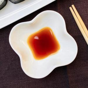 醤油皿 四つ葉型  小皿 豆皿 白い 軽い 無地 シンプル 強化磁器 ポイント消費 取り皿 小鉢|nishida-store