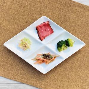 仕切り皿 オードブル皿  27.6cm ひし形 4つ  プレート ランチ ビュッフェ 白磁 おしゃれ レンジOK 軽い 無地 シンプル|nishida-store