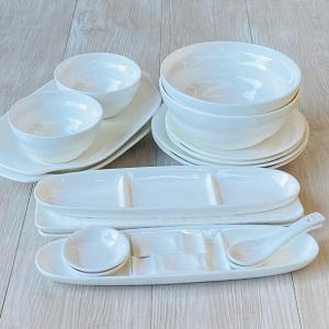 送料無料 おしゃれな食卓には白食器10種類×2人用 20点実用セット 【食器 セット ベア ギフト ...