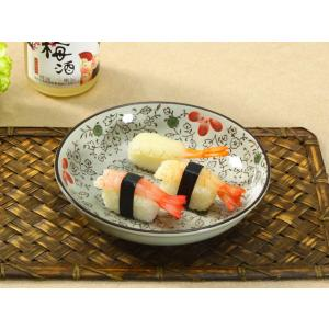 丸皿  8号 赤いコスモス  大きい 皿 プレート 強化磁器 花柄 シンプル レンジOK 丸い プレート オリジナル 取り皿|nishida-store