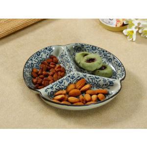 和食器 三つ仕切り皿  7.5号 青い花集い  プレート 花柄 割れにくい こども 大皿 レンジOK 取り皿 仕切り|nishida-store