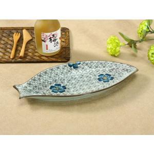 魚形の皿  青い椿  プレート 大きい 割れにくい 軽い レンジOK 花柄 カラバリ おしゃれ プレート 長皿 nishida-store
