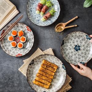 凹凸 丸皿  9号 青い椿  花柄 取り皿 大きい 野菜 おしゃれ  軽い シンプル 割れにくい プレート|nishida-store