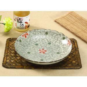 凹凸 丸皿  9号 赤いコスモス  花柄 取り皿 大きい 野菜 おしゃれ  軽い シンプル 割れにくい nishida-store