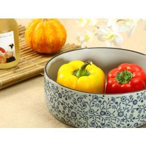 大鉢  8.5号 青い花集い  茶碗 どんぶり まんぷく 子ども 割れにくい 大きい 陶磁器 花柄 おしゃれ シンプル|nishida-store