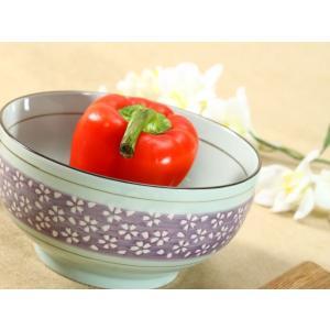 和食器 丼   6.5号 紫地白桜  ご飯 茶碗 子供 花 ペアOK シンプル まんぷく 強化磁器 大きい ボウル 業務用|nishida-store