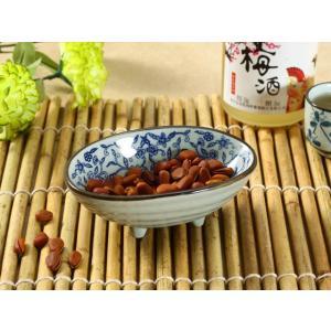 和食器 小鉢 和食器 160ml 青い唐草 足付き おしゃれ 花柄 小さい シンプル レンジOK|nishida-store
