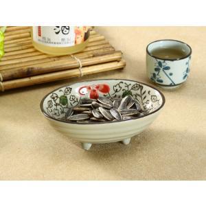 和食器 小鉢 和食器 160ml 赤いコスモス 足付き おしゃれ 花柄 小さい シンプル レンジOK|nishida-store