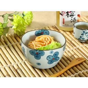 和食器 小鉢  4.5号 青い四つ葉  大きい お一人様 花柄 カラバリ ボウル サラダ おしゃれ|nishida-store