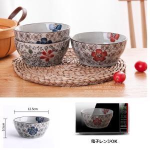 和食器 小鉢  5号 赤いコスモス  花柄 和柄 ボウル サラダ 漬物 大きい 訳あり 丈夫 陶磁器 軽い おしゃれ シンプル|nishida-store
