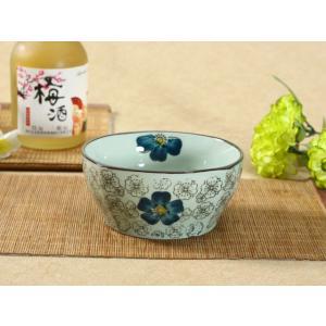 和食器 小鉢  5号 青い椿  花柄 和柄 ボウル サラダ 漬物 大きい 訳あり 丈夫 軽い おしゃれ シンプル|nishida-store