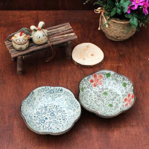 桜型 和食器 小鉢  5号 青い花集い  和食器 小鉢 取り鉢  こども 花柄 野菜 割れにくい 業務用 ボウル 軽い スタック|nishida-store