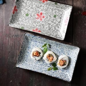 長皿 9号 赤いコスモス レスタングルプレート さんま皿 大きい レンジOK おしゃれ 花柄|nishida-store
