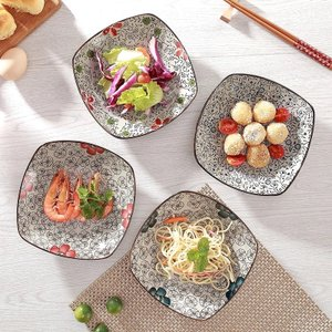 角皿  7号 赤い椿  花柄 取り皿 大きい 野菜 おしゃれ 中皿 小鉢 シンプル 割れにくい プレート|nishida-store