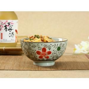 和食器 ご飯茶碗 湯呑み セット 4種の花柄から選べる  陶器 磁器 おしゃれご飯 ボウル ライス 湯のみ レンジOK|nishida-store