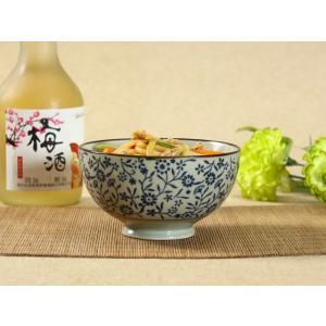 茶碗  4.5号 青い花集い  茶碗 ボウル どんぶり ご飯 子ども 野菜 まんぷく 普通盛り レンジOK 花柄 カラバリ ボウル 陶磁器 スープ ライス|nishida-store