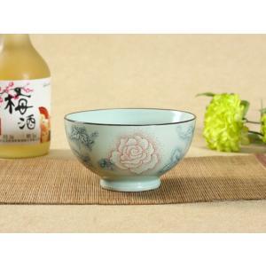茶碗  4.5号 赤い大輪薔薇  茶碗 ボウル どんぶり ご飯 子ども 野菜 まんぷく 普通盛り レンジOK 花柄 カラバリ ボウル 陶磁器 スープ ライス|nishida-store