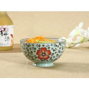 茶碗  4.5号 花集い&赤い椿  茶碗 ボウル どんぶり ご飯 子ども 野菜 まんぷく 普通盛り レンジOK 花柄 カラバリ ボウル 陶磁器 スープ ライス|nishida-store