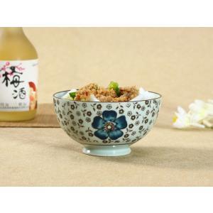 茶碗  4.5号 花集い&青い椿  茶碗 ボウル どんぶり ご飯 子ども 野菜 まんぷく 普通盛り レンジOK 花柄 カラバリ ボウル 陶磁器 スープ ライス|nishida-store