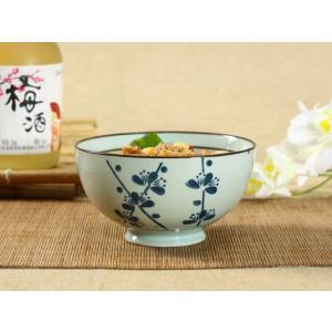 茶碗  4.5号 青い梅の枝  茶碗 ボウル どんぶり ご飯 子ども 野菜 まんぷく 普通盛り レンジOK 花柄 カラバリ ボウル 陶磁器 スープ ライス|nishida-store