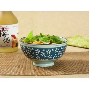 茶碗  4.5号 青地白桜  ボウル  どんぶり ご飯 子ども 野菜 まんぷく 普通盛り レンジOK 花柄 カラバリ ボウル 陶磁器 スープ ライス|nishida-store