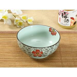 広口 茶碗 5号 赤い椿 ご飯 花柄 軽い シンプル おしゃれ 大きい 子ども ペアでも可 陶磁器 割れにくい nishida-store