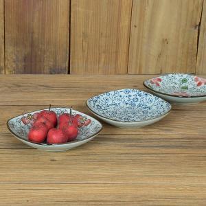 和食器 丸口皿  5号 青い花集い  小鉢 醤油皿 取り皿 角皿 漬物  こども シンプル ポイント消費に 小付け nishida-store