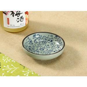 和食器 小皿  青い花集い  丸皿 豆皿 焼き 陶磁器 磁器 醤油皿 軽い シンプル 花柄 おしゃれ 漬物 刺身 nishida-store